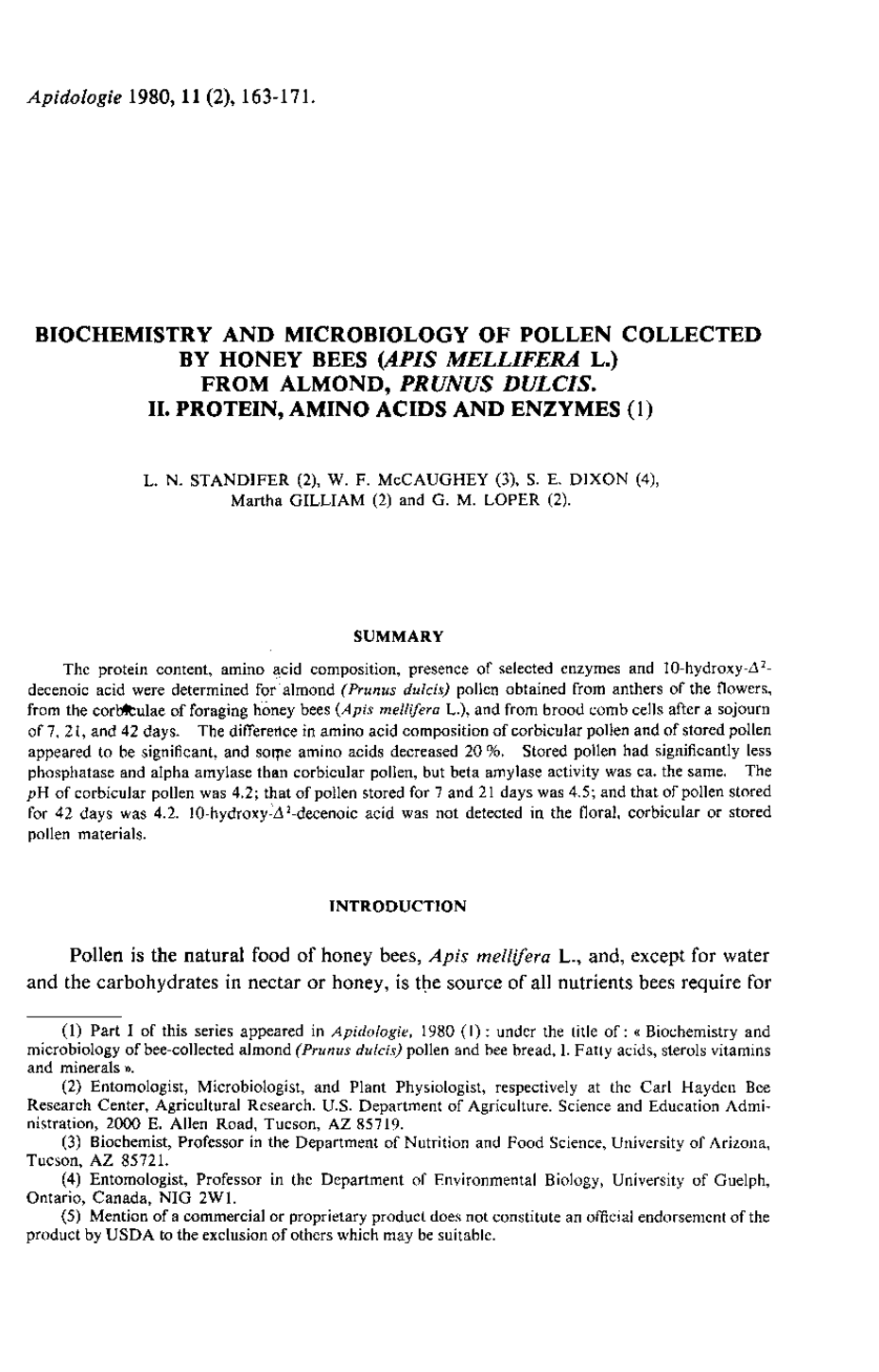 biochemistry and microbiology of pollen collected by honey bees first page of the article